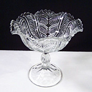 Vintage Heavily Patterned Pressed Glass Compote