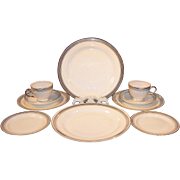 Service for TWO: Homer Laughlin Nautilus Platinum Bands