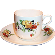 Homer Laughlin Poppy & Rose Cup & Saucer