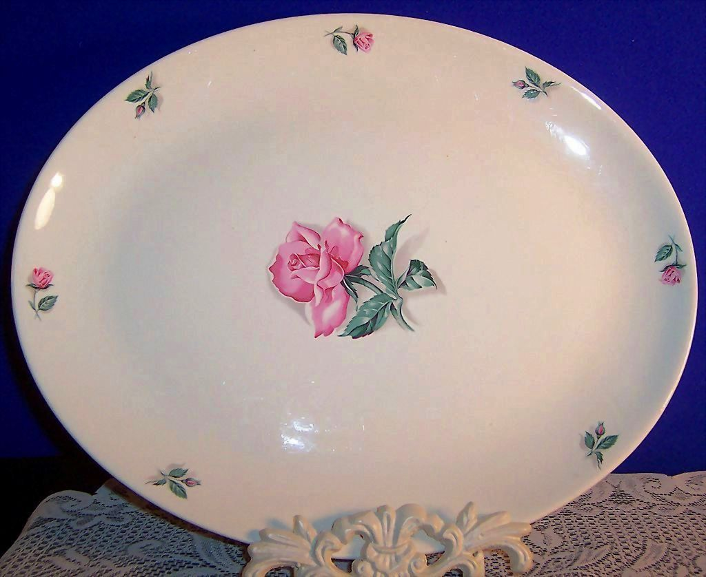 "Homer Laughlin China Co.,  13 1/2""  Rhythm Rose Platter"