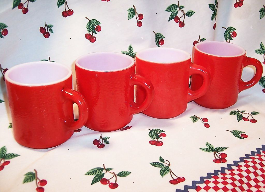 """SET of 4: Cherry Red Hazelware """"Pebble"""" Textured Stackable Mugs"""