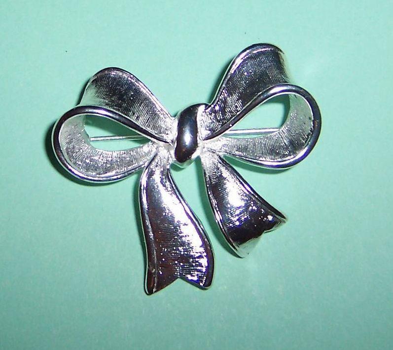 Signed Napier: Brushed Finish Silvery Bow