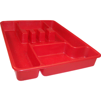 Red Lustro-Ware Utensil (Tableware) Tray