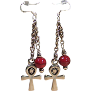 Pewter Coptic Cross & Red Quartzite Sterling Silver Earrings