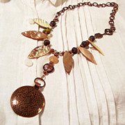 Handcrafted Copper Pearl & Shell Asymmetrical Necklace
