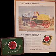 Lucky Strike Flat Fifties Cigarette Tin Box & Vintage Ad