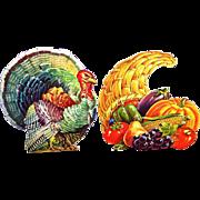 Vintage Dennison Thanksgiving & Fall Diecuts: Horn of Plenty & Tom Turkey