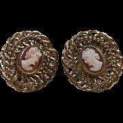 H.G. 12k Gold Filled Cameo Earrings