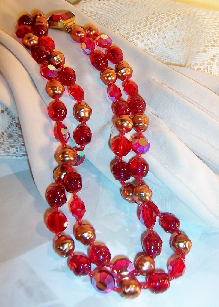 Deliciously Deep & Juicy Red!   2 Strand Choker / Necklace