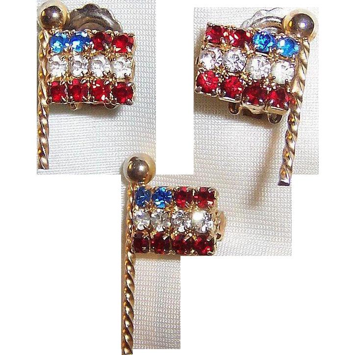 Weiss Rhinestone Flags:  Brooch & Earrings Set