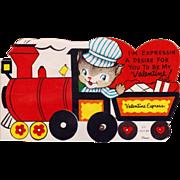 Unused Vintage 60's Mechanical Train Valentine