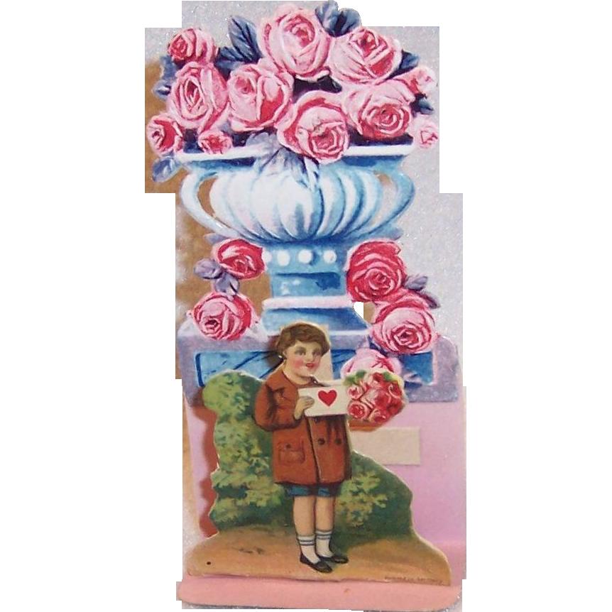 German Fold Out Die Cut Boy & Roses Valentine