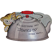 Vintage Unused Cat & Steamy Tea Kettle Valentine Diecut Card