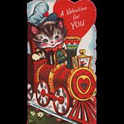Vintage 1960's Unsigned Kitty Engineer Train Valentine Card