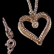 Double Heart Pendant Necklace & Crystal Rhinestone
