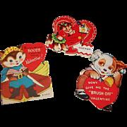 Vintage Valentine Trio; Cuckoo Cat, Puss-N-Boots, Dog Brush