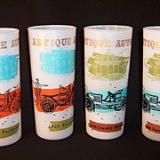 Vintage  Antique Automobile Frosted  Highball Tumblers
