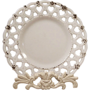 Antique Opal Milk Glass Reticulated Plate
