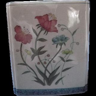 Block Censer Flower Frog Vase Handpainted by Andrea