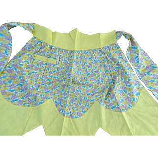 Apron Vintage Cotton Bright Yellow Flowers Kitchen Cooking Barbecue Accessory