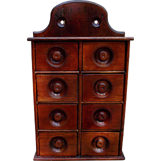 Antique Wood Spice Cabinet Kitchen Home Decor