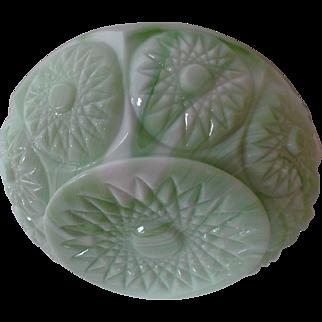 Green White Vintage Slag Glass Rose Bowl Jardiniere Sunburst Starburst Pattern