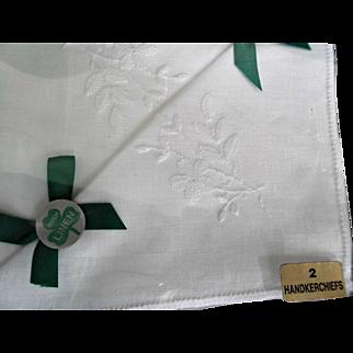 Vintage Irish Linen White Handkerchiefs Two in Original Box