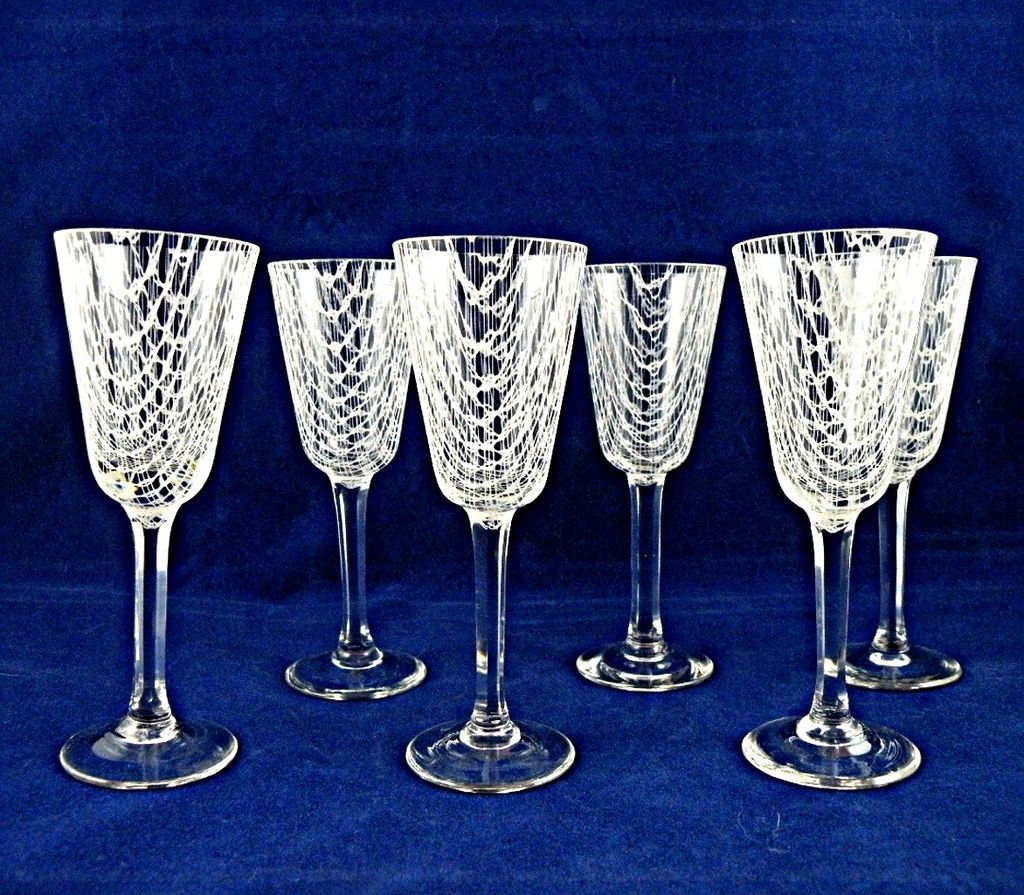Harrach Harrtil Merletto Cordial Set of Six Czech Glass Stems