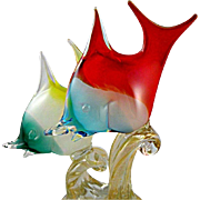 Murano Glass Double Fish Sculpture