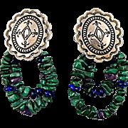 Native American Navajo Clip Earrings, Sterling Silver with Malachite Signed Delbert Delgarito