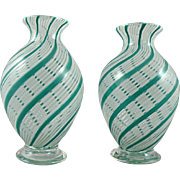 Aureliano Toso Murano Glass Vases with Mezza Filigrana