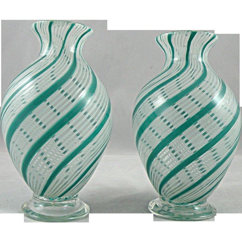 Aureliano Toso Murano Glass Vases with Mezza Filigrana
