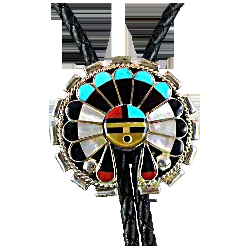 Vintage Zuni Inlay Bolo Tie with Sun Face Kachina, Native American