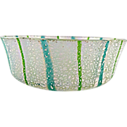Venetian Glass Fasce Verticali Bowl with Heavy Silver