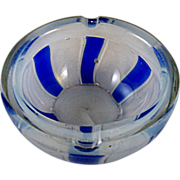 Barovier & Toso Opaline Blue Tessere Ashtray Bowl made in Murano 1950s