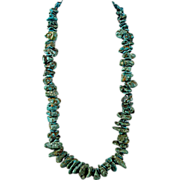 Long Turquoise Nugget Necklace with Shell Heishi