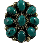 Charlie John Navajo Turquoise Cluster Ring with Sterling Silver, Size 6 1/2