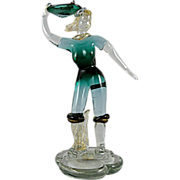 Murano Glass Woman with Fish by Salviati 1960s Label