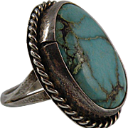 Navajo Turquoise Sterling Silver Ring with Nice Stone Size 8 1/2, read listing about size