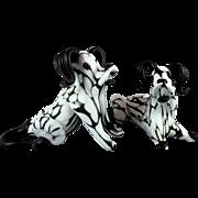 Archimede Seguso Murano Glass Dogs 1950s Bianco Nero Fantasy Series