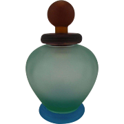 Colorful Satinized Glass Scent Bottle in perfect condition