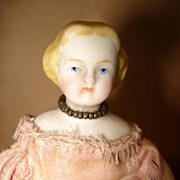 Blond Early Doll House Doll in Pink Satin