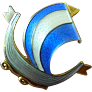Enameled and signed- Norway- sterling ship-Pin