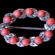 Coral-marcasites-Vintage pin