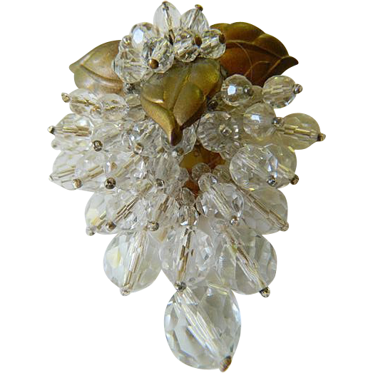 Glass beaded- Mariam Haskell- Dress/fur- Clip