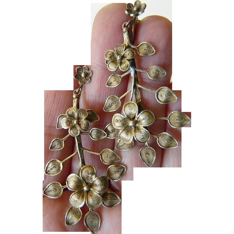 Hand made- Italian silver- ornate cascading earrings- Removal June 17