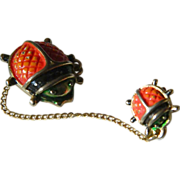 1940's-double- Ladybug pin with chain