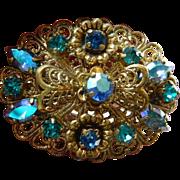 Filagree and brilliant glass stones-Pin
