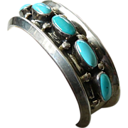 SALE Fabulous signed- Thick Sterling cuff with turquoise-Gilbert Nelson