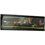 """Panoramic-glassed picture- Feathers-""""The Cock fight"""""""